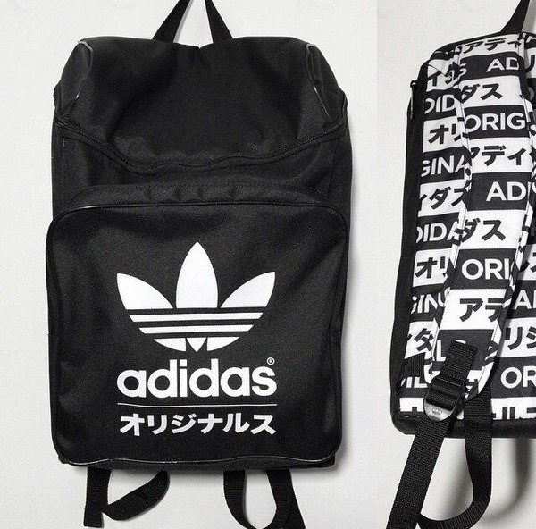 135f2f6480de ADIDAS ORIGINALS TYPO CLASSIC BACKPACK BLACK WHITE TREFOIL Japan bag NWT