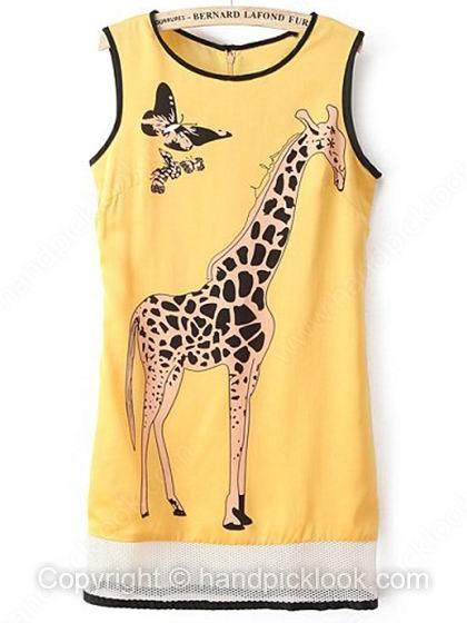 Yellow Round Neck Sleeveless Deer & Butterfly Print Dress - HandpickLook.com