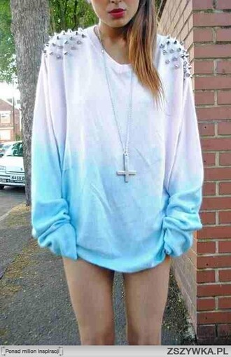 blouse studs gradient cross necklace