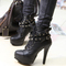 Punk new womens studded high heels platform lace up ankle boots shoes black 1kl | ebay