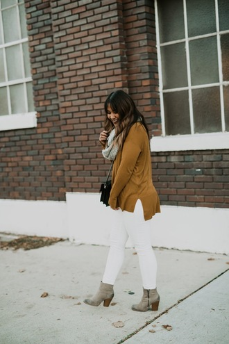 jodybeth blogger sweater pants shoes scarf bag fall outfits ankle boots white jeans cardigan