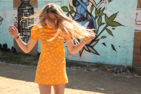 dress short summer orange cute butterfly tumblr orange dress girly boho hipster short sleeve t shirt dress orange pattern tropical tropical print summer dress butterflies floral puff sleeves