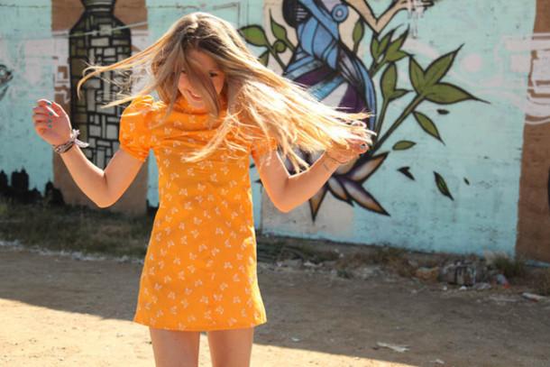 Dress short summer orange butterfly floral cute orange dress girly boho hipster short ...