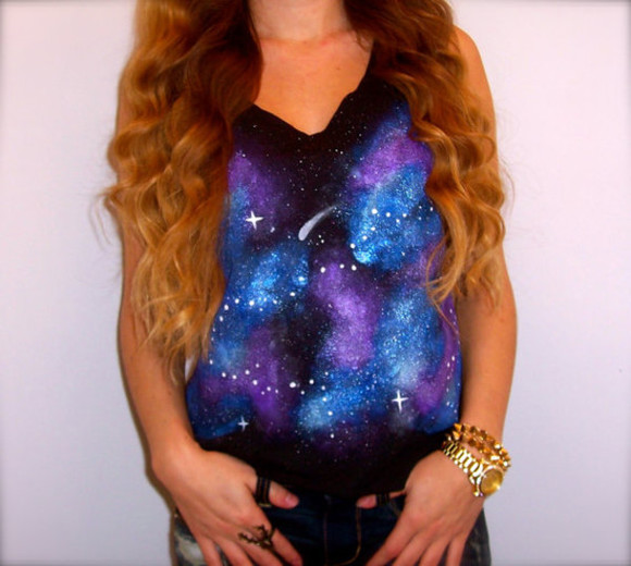 shirt tank top galaxy stars cosmic space nebula etsy festival hipster clothes