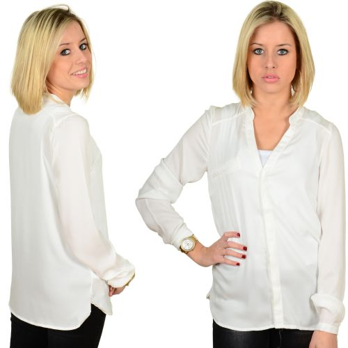 Vila Vital L/s Pocket Shirt White 103495 at Hoodboyz