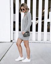 dress,grey dress,tumblr,knit,knitted dress,long sleeves,sneakers,white sneakers,low top sneakers,bag