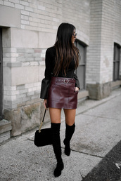 skirt,tumblr,leather skirt,burgundy,burgundy skirt,mini skirt,sweater,black sweater,bell sleeves,bag,black bag,boots,black boots,over the knee boots,flat boots
