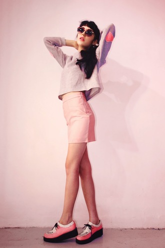 sunglasses sophie traverse blogger pastel elbow patches mini skirt creepers