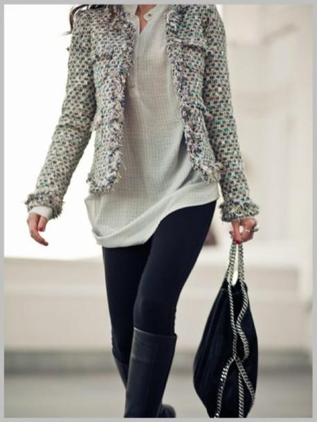 jacket clothes bag coat shoes grey jacket blouse grey tweed jacket black and white casual fabric jacket style