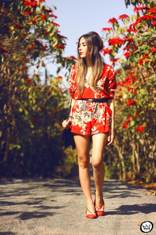 fashion coolture blogger romper bag roses