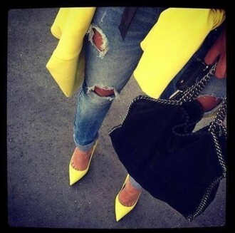jeans ripped jeans yellow trench coat neon yellow heels shoes
