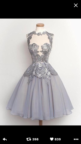 dress grey tulle skirt lace