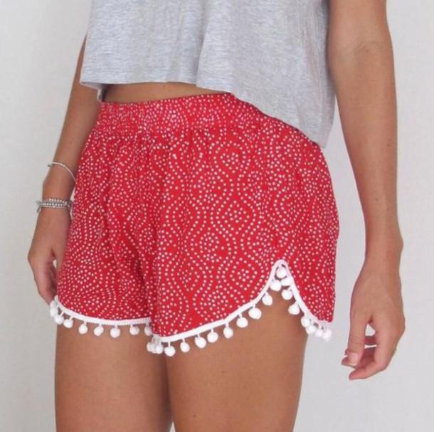 shorts pom pom red and white shorts