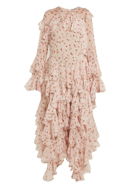 PREEN BY THORNTON BREGAZZI dress chiffon dress chiffon ruffle silk pink