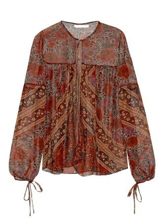 blouse sheer print silk top