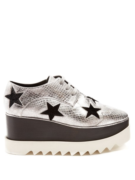 shoes platform shoes lace silver black