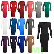New Womens Ladies Long Sleeve Stretch Plain Bodycon Midi Maxi Dress 8-14 | eBay