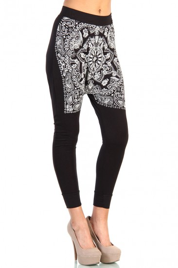 LoveMelrose.com From Harry & Molly | Bandana Print Pants - Black