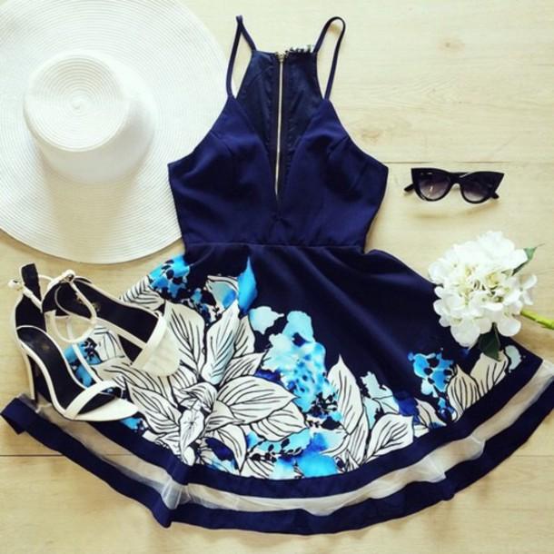 dress blue navy floral
