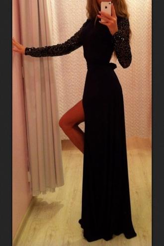 dress black studs long sleeves maxi little black dress slit slit dress maxi dress