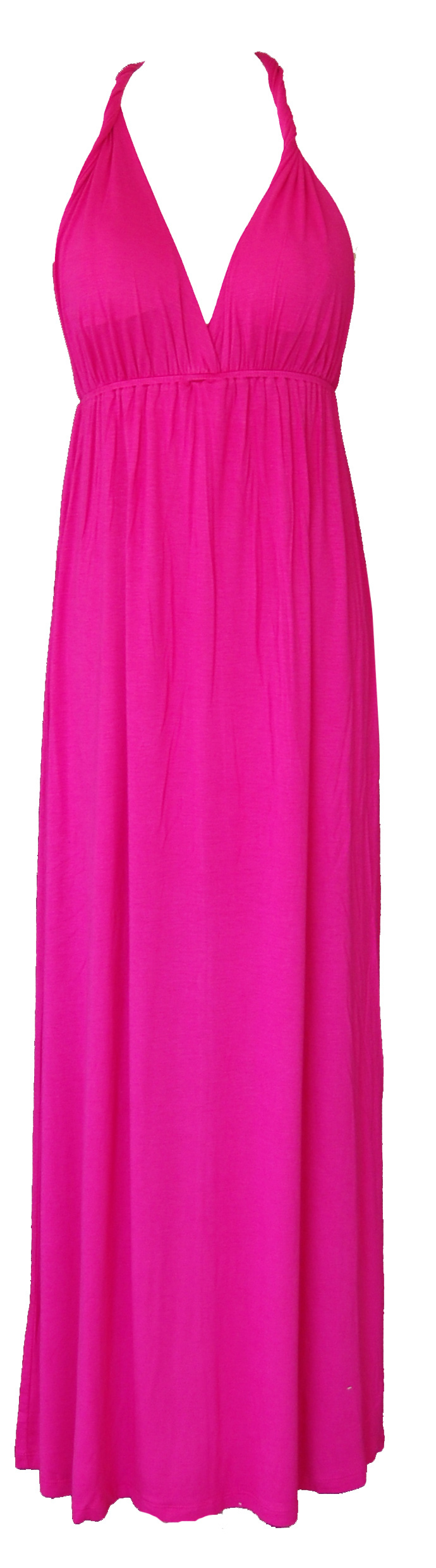 V Neck Maxi Dress Hot Pink