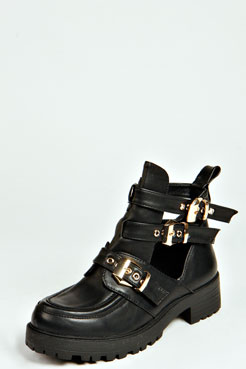 Amber Buckle Cut Out Chunky Boot at boohoo.com