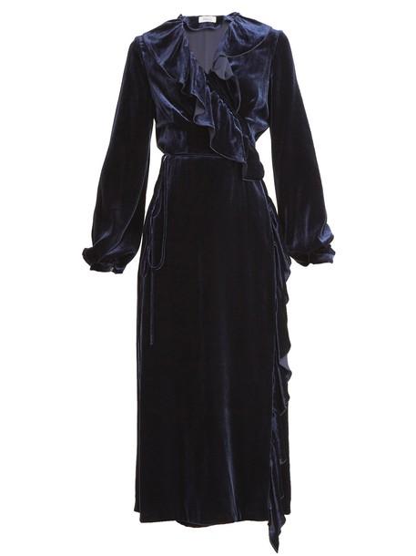 dress wrap dress ruffle velvet navy