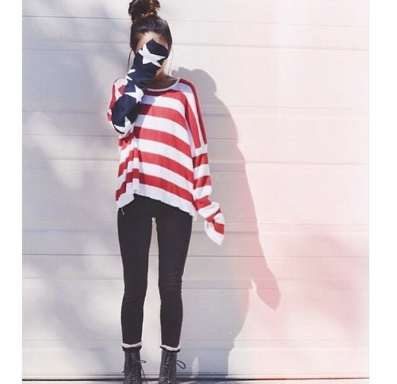american flag white sweater red blue shirt oversized sweater
