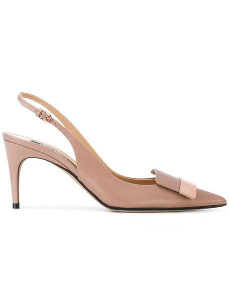 Sergio Rossi back women sandals leather nude shoes