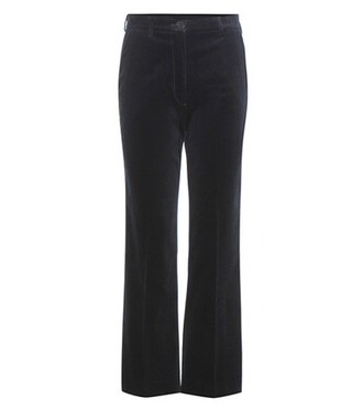 flare cropped velvet blue pants