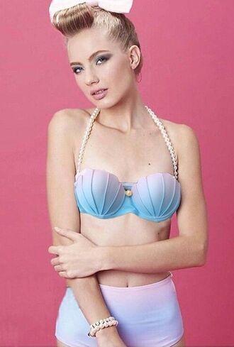 swimwear mynystyle ombre bikini pink pastel mermaid high waisted bikini style fashion shell beautiful summer vintage