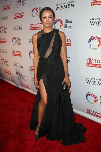 dress gown slit dress black dress kat graham pumps