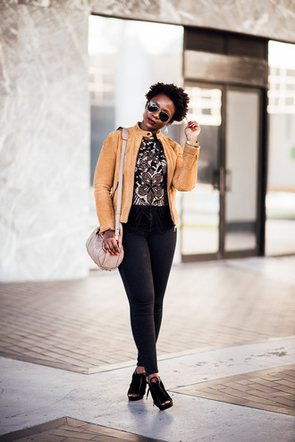 pinksole blogger jewels jacket top jeans shoes bag yellow jacket shoulder bag ankle boots peep toe boots nude bag skinny jeans earrings michael kors watch nordstrom sud express gap alexander wang