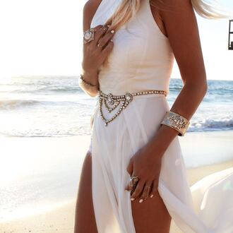 belt jewel layer gypsy belt gypsy boho beach wedding dress white dress maxi dress ong white side cutout dress cutout leg