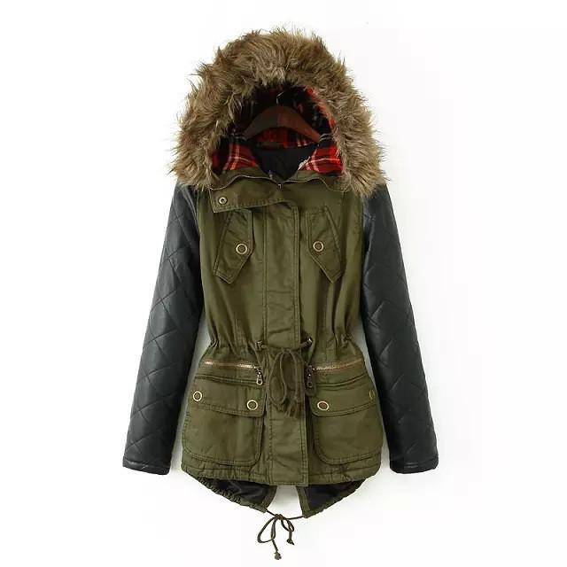"""winter ready"" faux leather trimmed parka coat – glamzelle"