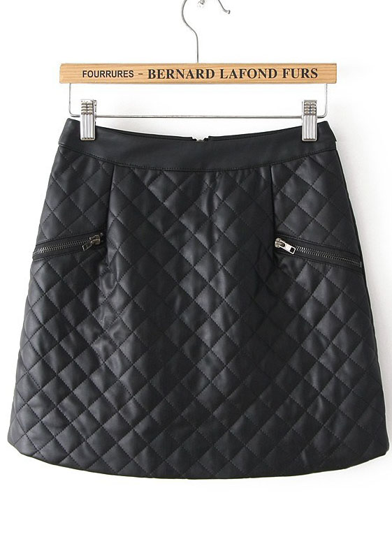 Black Plaid Zipper Leather Skirt - Sheinside.com