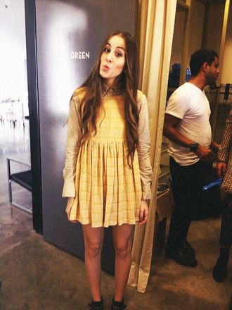 dress haim band dungaree yellow babydoll smock dungarees