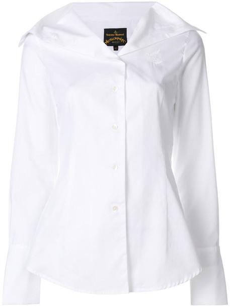 Vivienne Westwood shirt collar shirt oversized women white cotton top