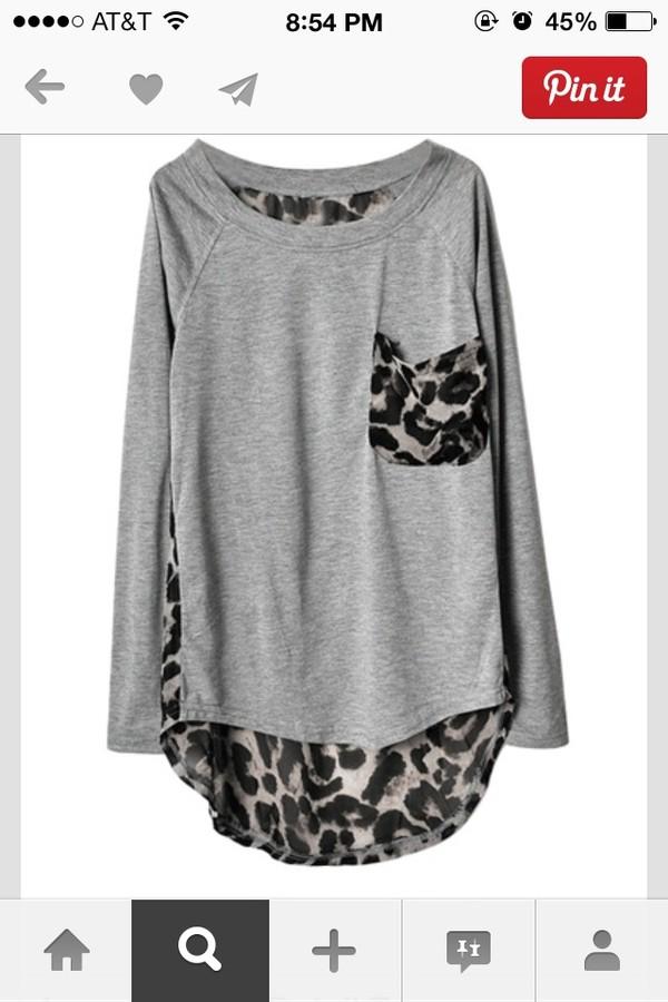 shirt leopard print grey leopard print blouse