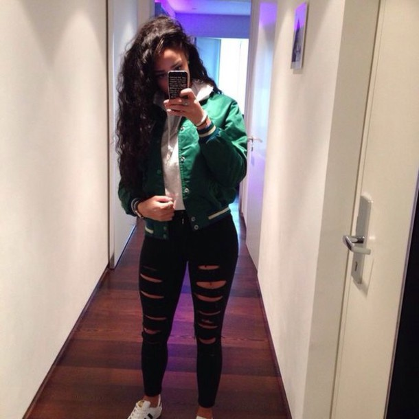 Jeans jacket green bomber jacket varsity jacket black ripped jeans curly hair pretty girl ...