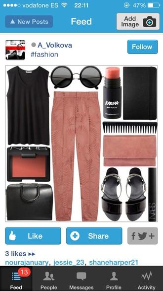 black sunglasses round pastel