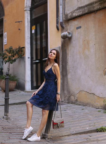 dress, tumblr, midi dress, blue dress