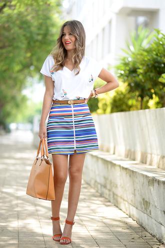 mi aventura con la moda blogger skirt t-shirt shoes jewels bag
