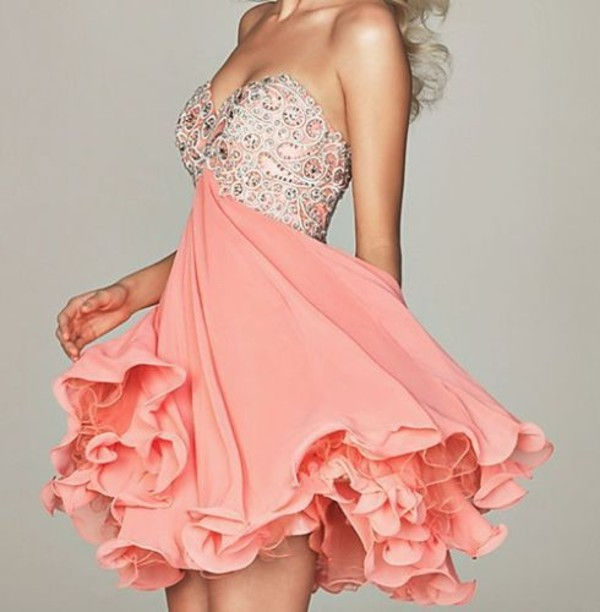 dress pink ruffle crystal summer short girly chiffon