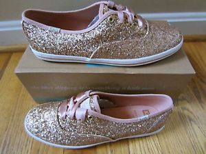 b72c47949b1 Kate Spade Keds Sneakers Kick Rose Gold Glitter Shoes Pink Ribbon ...