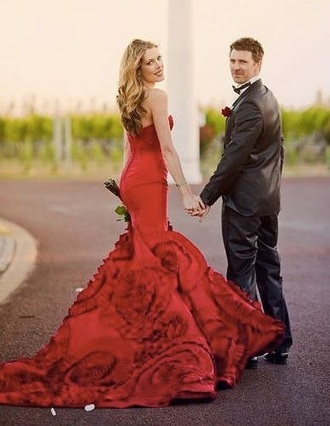 dress red formal mermaid pretty prom gown wedding ball quinceanera
