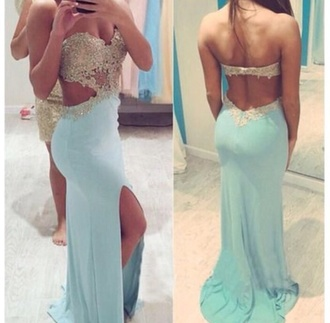 dress baby blue sparkle prom sweetheart long prom dress