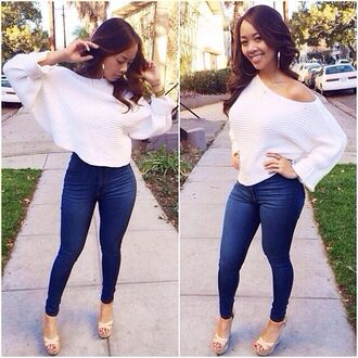 top white long sleeve top jeans