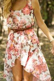 asymmetrical,dress,floral,floral dress,flowers,summer dress,spring dress