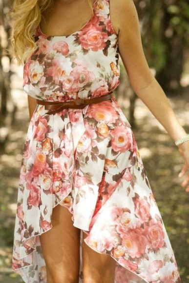 dress floral dress high-low dresses floral sundress floral print dress belt high-low sleeveless bow belt country style flowers leather belt] cute summer summer dress clothes pretty pretty dress flowy dress girly high low pink